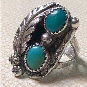 Old Pawn Sterling & Turquoise Ring Size 5